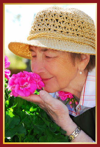 Senior gardening and smelling the flowers.